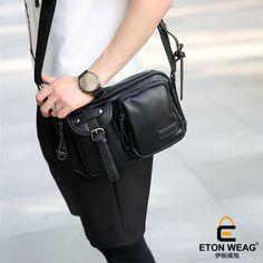 ETONWEAG Brands Cow Leather Messenger Bags For Women 2017 Black Zipper Vintage Crossbody Shoulder Bag Pockets Shaped Woman Bag #Affiliate