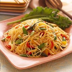 Asian Vegetable and Pasta Salad:Asian favorites, such as plum sauce, soy sauce, and sesame oil, make this pasta salad truly exceptional. Look for the ingredients in the ethnic food aisle of your grocery store. Asian Vegetable and Pasta Salad 12345 Yield: 8 to 10 side-dish servings Prep: 25 mins Chill: 4 hrs