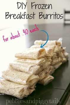 DIY Frozen Breakfast Burritos.  Great idea for on-the-go breakfasts! #breakfastburritos #easybreakfast at pebblesandpiggytails.com