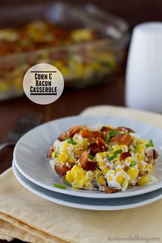Corn and Bacon Casserole | 6 slices bacon, 1/2 cup chopped onion, 2 T flour, 2 cloves garlic, salt and pepper, 8 oz sour cream, 3 1/2 cups corn (fresh or frozen), 1 T chopped parsley, chives