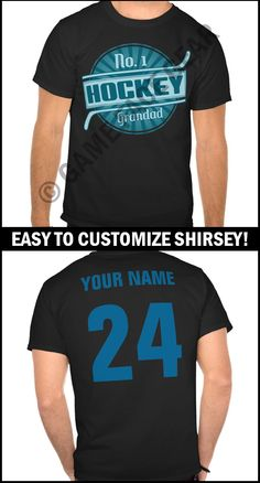 Is it a t-shirt, is it a sports jersey? No it's a #shirsey! Easily customize this t-shirt with your own name and number. More original sports apparel & gifts @ http://www.zazzle.com/gamefacegear*/ #hockeyshirsey #hockey #hockeytshirts#HockeyGrandad