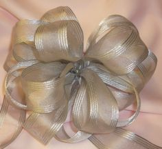 Silver Mesh Gift Bow Wedding Bows Gift Bows by BasketsFromAtoZ Wedding Chair Bows, Wedding Pews, Bow Wedding, Wedding Chairs, Wedding Table, Wedding Gifts, Tree Topper Bow, Tree Toppers, Wired Ribbon
