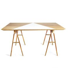 A wood and copper sawhorse desk from Michele Varian | Lonny