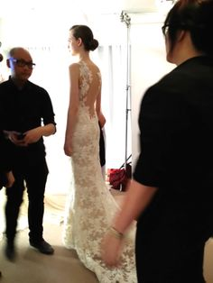 """Spring 2015 Amsale """"Nicole"""" gown #lowback #lace #illusion"""