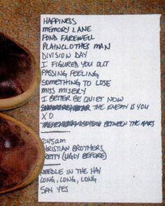 Smith's set list for his last show in Salt Lake City, September 2003