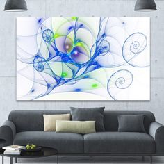 Designart 'Blue Colored Curly Spiral' Extra Abstract Canvas Wall Art