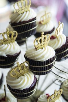 Royal Pink and Gold Baby Shower dessert table ideas, cupcakes with tiara