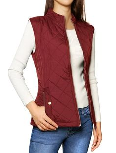 Allegra K Woman Stand Collar Zippered Quilted Padded Vest Burgundy L