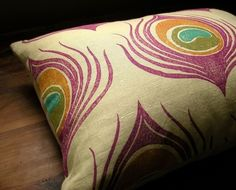 peacock feather pillow
