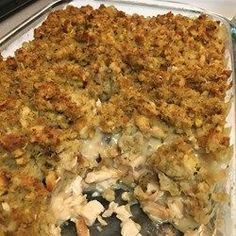 Rotisserie chicken and stuffing casserole with a creamy layer in between is a warm, comfort food for winter evenings or holiday dinners. Easy Casserole Recipes, Stuffing Recipes, Casserole Dishes, Potato Recipes, Chicken And Dressing Casserole, Chicken Stuffing Casserole, Shredded Chicken Casserole, Butter Chicken, Baked Chicken