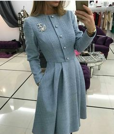# dresses fall Solid Beading Shirt Round Neckline A-line Dress - S . - Herbst solid beading shirt round neckline a-line dress – shopping online - Hijab Styles, Vestidos Vintage, Vintage Dresses, Dress Chanel, Hijab Fashion, Fashion Dresses, Fashion Clothes, Modest Fashion, Mode Hijab
