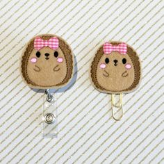 Cute Hedgehog Felt Paperclip l Badge Reel ID Holder by SugarandIvy