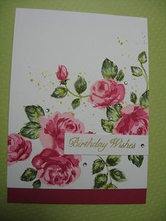 I am in the process of making a load of cards for the dog rescue. However my Altenew Vintage Roses arrived yesterday and it is my friend's birthday today, so I couldn't help but play with my new floral set. I have to say this really isn't the easiest set to use, there are so many layers and components but I still love it! Flourishes sentiment.