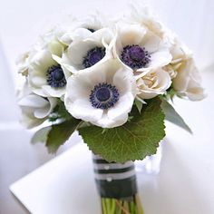white anemone and white roses bouquet