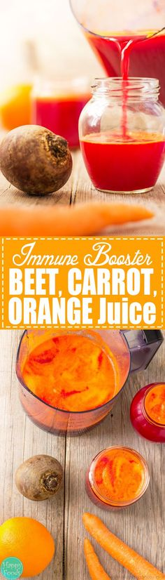 Immune Booster Beet, Carrot & Orange Juice - Fresh fruit and vegetable juices are perfect for boosting your body with nutrients! Detox your liver and help you to stay healthy! Best cleanse juice recipe | happyfoodstube.com