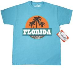03f7e005eac94b Inktastic New Smyrna Beach Vintage T-Shirt Florida Palm Tree Retro Summer  Vacation Travel Hometown Town City Cities Cool States Floridian Pride Mens  Adult ...