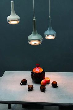 Industrial chic concrete and glass light fixtures: IdéeAl Lamps