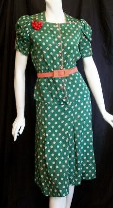 Green polka-dot silk crepe skirt and blouse with corsage of artificial cherries, by Martha Cartwright, American, circa 1930s.