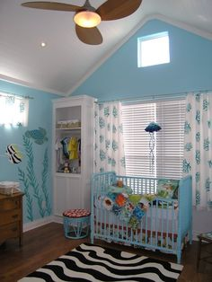 ocean nursery mural- must make or find those curtains for baby D!