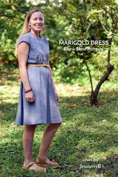 Marigold Dress sewing pattern by Blank Slate Patterns sewn by JessamyB Dress Sewing Tutorials, Sewing Projects, Marigold Dress, I Dress, Shirt Dress, Pdf Sewing Patterns, Classic Looks, Slate, Fashion Outfits