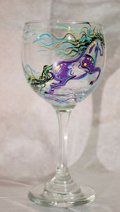 Wine Glass  Horse Painted Wine Glass  Hand by concettasdesigns