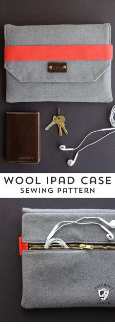 DIY Wool iPad Case Sewing pattern, a great tutorial for an iPad or tablet case for guys! Would make a great Christmas gift.