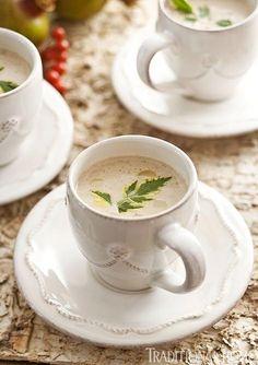 Brandied wild mushroom soup in espresso cups