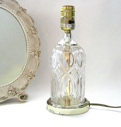 Small Glass Table Lamp Glass Retro Design by SharetheLoveVintage