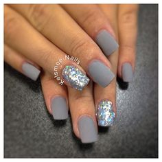 Young Nails mani matte with glitter #nailart #nails #mani
