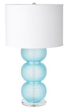 Sophie Diamond Textured Aqua Table Lamp