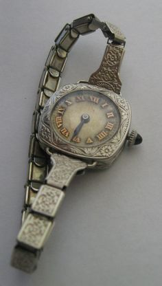 1930s 14K solid white gold Bulova with an interesting face.