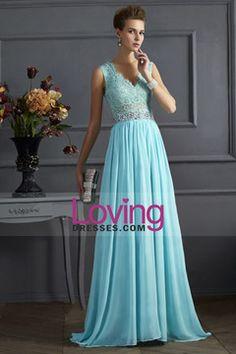 2014 New Arrival V Neck Tulle&Lace Back A Line Exquisite Chiffon Beading Prom Dress USD 156.99 LDPH6FB689 - LovingDresses.com
