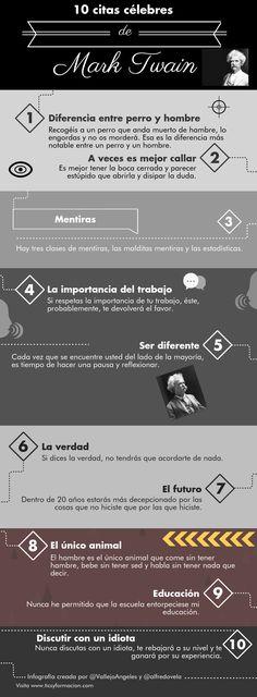 Hola: Una infografía con 10 citas célebres de Mark Twain. UN saludo