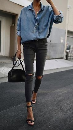Casual chic chambray shirt with black heels 48fd55e38dd