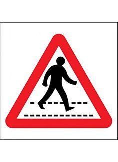 Caledonia Signs 17556N 'Pedestrian Crossing' Sign, Rigid Plastic, 400 mm x 400 mm
