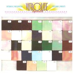 Vitrolite Glass Tiles Color Samples Popular in 1930s and 1940s Homes in Kitchens and Bathrooms