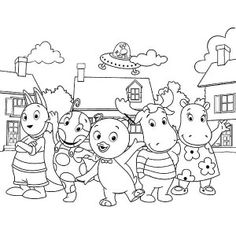 the backyardigans uniqua sitting on the bench in the backyardigans coloring page uniqua posing at the backyard in the backyardigans coloring page - Backyardigans Coloring Pages Print