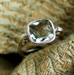 Sparkler Ring - Pale Green Amethyst - Cushie Cut Set in Sterling Silver - Cocktail Ring. $145.00, via Etsy.