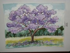 jacaranda. Watercolor by Frances Smith