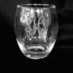 Monogrammed Stemless Acrylic Wine Glass - Set of 4 - A165