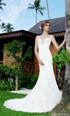 rico a mona 2015 resort collection sophisticated cap sleeve sheath wedding dress lace straps deep split neckline
