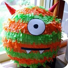 Monster Pinata   ...via Purple Sage Creations: These Are A Few Of My Favorite Things:: MONSTER PARTIES Little Monster Birthday, Monster 1st Birthdays, Monster Birthday Parties, 2nd Birthday Parties, Birthday Fun, First Birthdays, October Birthday, Birthday Ideas, Birthday Decorations
