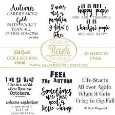 Inspirational quotes, fall quotes, autumn quotes, September quotes, October quotes, png quotes, scrapbook clip art, instant download