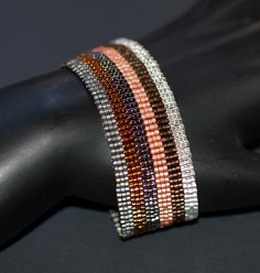 Industrial Neopolitan ... Bracelet Cuff . Metallic . Stripe . Peyote . Beadwoven . Modern . Stylish . Simple . Unisex.