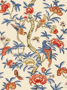 Giselle Blue and Coral wallpaper by Thibaut - Downstairs bedroom