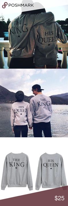 King and Queen Sweatshirts New without tags  The King Length: 23in (front of collar down) Sleeve: 24in (shoulder down) Width: 21in (armpit to armpit)   His Queen Length: 20in (front) Sleeve: 22.5in (shoulder) Width: 19in (armpit)  Couple's outfit Sweaters Crew & Scoop Necks