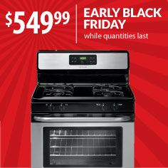 You'll really be cooking with gas when you save $200 on this Frigidaire stainless steel stove. Get it before Black Friday! Model: FFGF3053LS