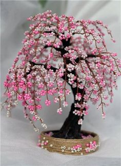 Beaded Flowers Patterns, Tree Sculpture, Red, Jewelry, Jewlery, Jewerly, Schmuck, Wood Sculpture, Jewels