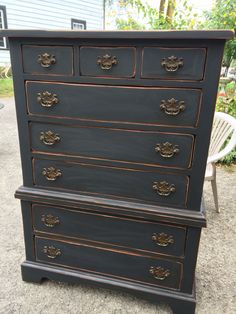Primitive dresser chest of drawers i refinished for my bedroom. By ye olde crow primitives