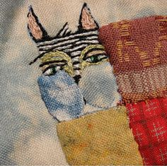 Cat close up -- Jude Hill Art Textile, Textile Artists, Embroidery Applique, Embroidery Stitches, Cat Crafts, Sewing Crafts, Boro Stitching, Cat Quilt, Textiles